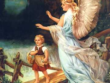 Guardian angel picture with child on tree trunk - Guardian angel picture with child on tree trunk