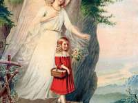 Guardian angel image with child on boardwalk - Guardian angel image with child on boardwalk