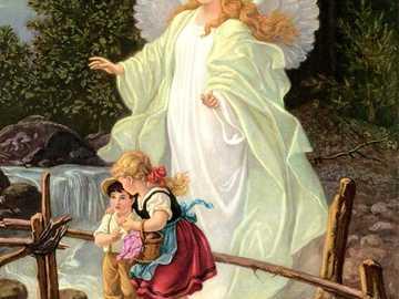 Photo d'ange gardien avec des enfants sur la promenade - Photo d'ange gardien avec des enfants sur la promenade
