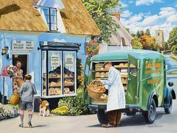 Der Bäcker - Puzzle. Das Brot liefern