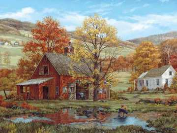 Malerei. - Malerei: Herbstlandschaft.