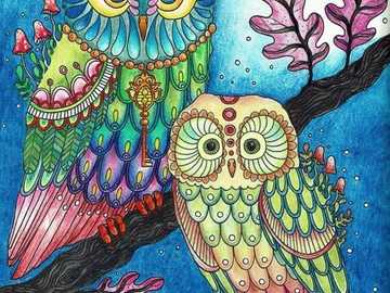 Two colorful owls - Two colorful owls in the tree