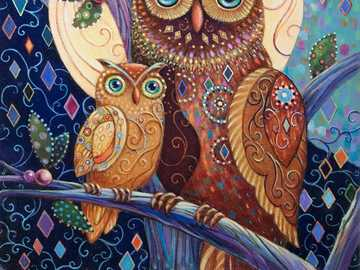 Two colorful owls - Colored picture of two owls
