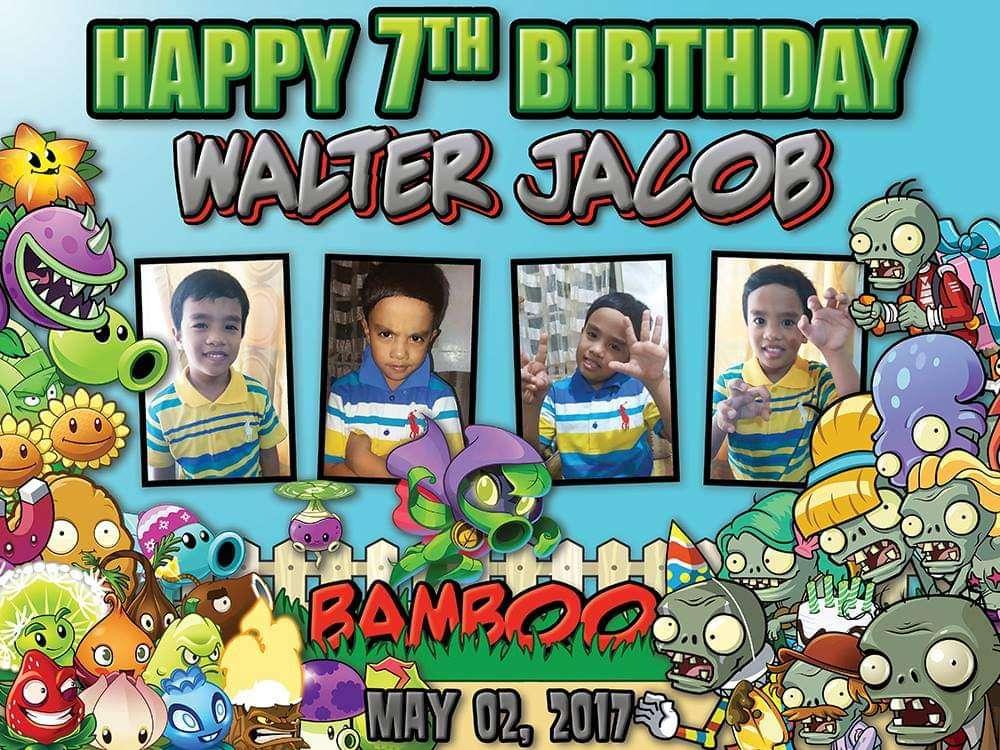Cumpleaños temático de Bamboo Plants vs Zombies - En mayo 2,2017 comenzó cumpleaños (2×2)