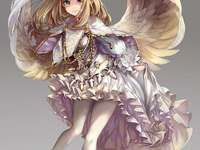Anime girl angel - Anime girl, angel, wings, crown