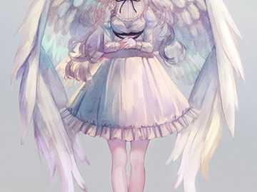 Anioł dziewczyna z anime - Aniołek z anime, pastelowe kolory