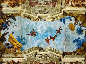 beautiful ceiling mural - blue and brown floral textile. Vizcaya, Spain