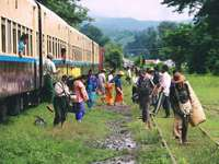 group of people standing outside train - I went to Myanmar in 2016 and took the train around this beautiful country. Hsipaw, Myanmar (Burma)