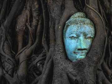 синя и зелена маска за лице - Главата на Буда на Уат Махатхат е известна статуя, коят