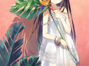 Fille d'anime tropicale - Anime girl holding un peu tropical comme feuille
