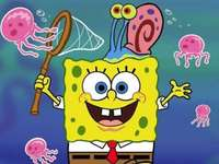 Spongebob and Gary hunting jellyfish - Solve the puzzle to see SpongeBob and Gary hunting jellyfish.