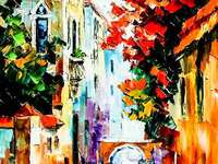 Venetian Passage - A passage in the city of Venice with balconies full of flowers