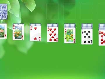 Baraja en solitario - jugando solitario en verde