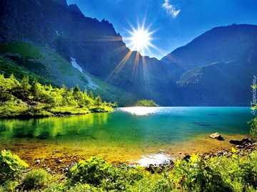sunrise, mountains, lake - m .....................