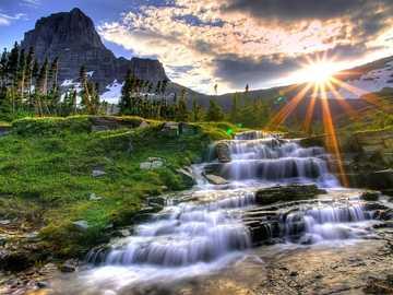 waterfall, mountains - m .....................