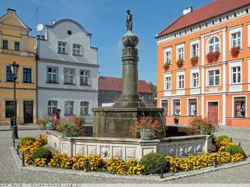 tenement houses, a fountain on the market square in Bytom - m ......................