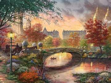 Jesień w Nowym Jorku. - Układanka krajobrazowa.