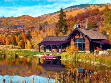 Къща в планината - Къща до езерото в планината