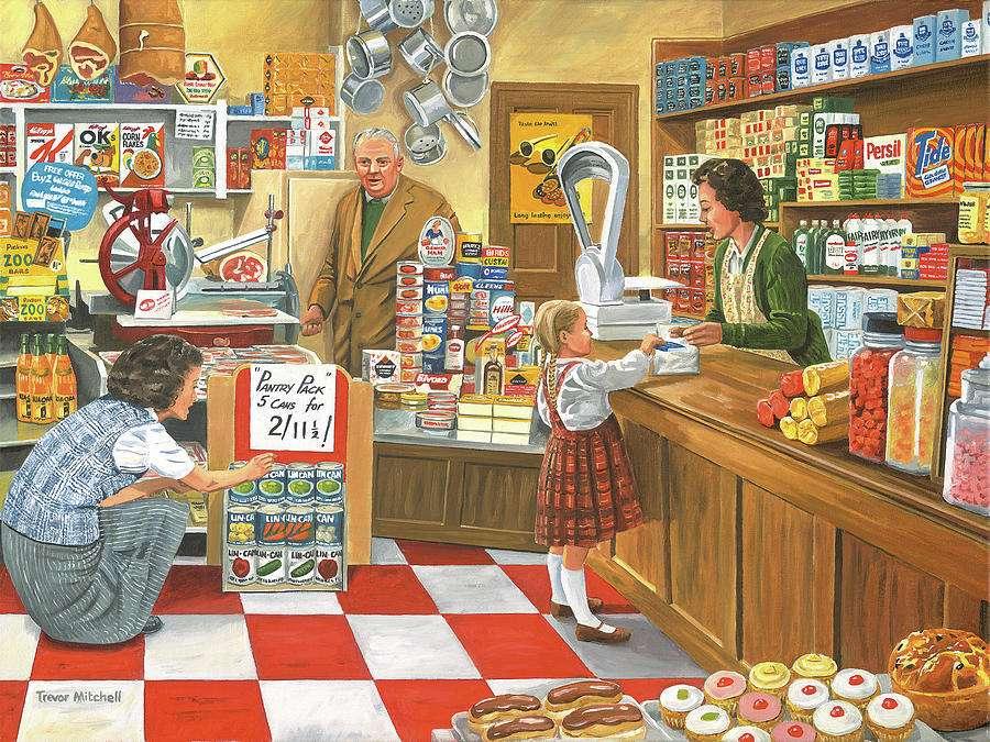 Wiejski sklep - Puzzle. Sklep na wsi