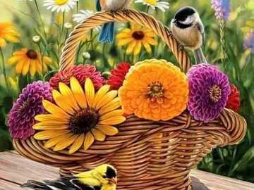 basket of flowers and colorful birds - basket of flowers and colorful birds