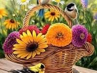 καλάθι με λουλούδια και πολύχρωμα πουλιά - καλάθι με λουλούδια και πολύχρωμα πουλιά