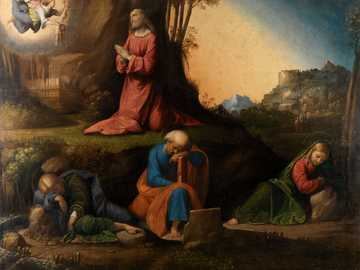 donna in abito rosso seduto sulla panca in legno marrone dipinto - L'agonia nel giardino, 1524 di Benvenuto Tisio Garofalo.