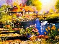 Labutí rybník chata pohled - Labutí rybník chata pohled