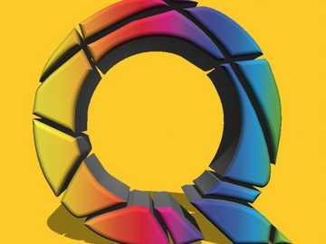 Logo Q in 3 D - Puzzle con logo 3 D per agenzia pubblicitaria e media