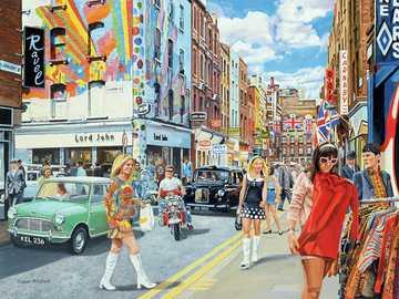 Ulica Miejska - Puzzle. Sklepy na ulicy miasta