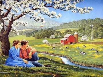 << Et voici le printemps >> - Puzzle de paysage.
