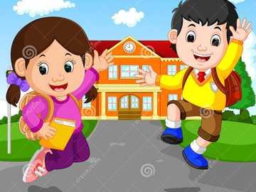Chodzenie do szkoły dzieci dziewczyna chłopiec - Chodzenie do szkoły dzieci dziewczyna chłopiec