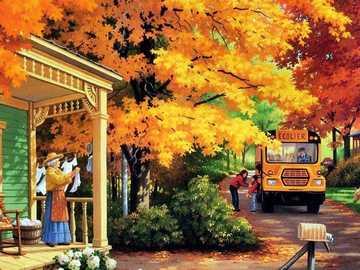 Casa de campo junto a la carretera en otoño - Casa de campo junto a la carretera en otoño