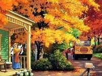 Domek przy drodze jesienią - Domek przy drodze jesienią
