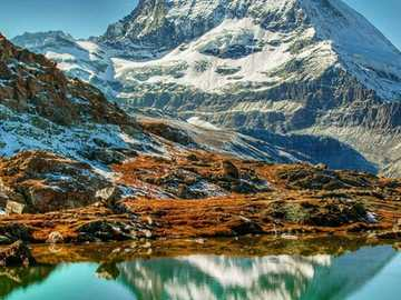 Matterhorn is reflected in the mountain lake - Matterhorn is reflected in the mountain lake