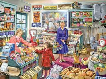 Village Shop - Puzzle. Village store