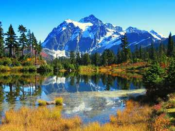 Beautiful landscape with a lake and mountains - Beautiful landscape with a lake and mountains