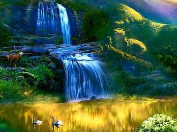 Paysage coloré avec des montagnes de fleurs cascade - Paysage coloré avec des montagnes de fleurs cascade