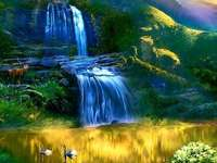 Colorful landscape with waterfall flowers mountains - Colorful landscape with waterfall flowers mountains