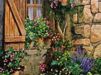 Painting house front with flowers and plants - Painting house front with flowers and plants