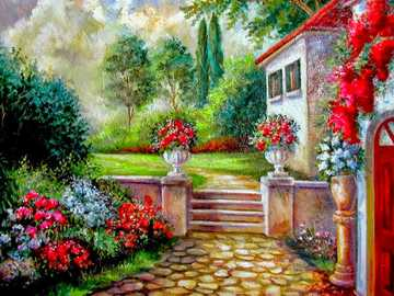 Painting house with garden - Painting house with garden