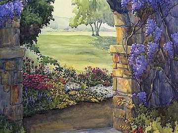 Painting stone arch with flower tendrils - Painting stone arch with flower tendrils