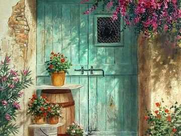 Vista de la casa de pintura - Entrada decorada con pintura