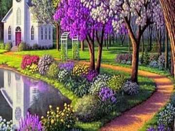 Gemälde Weg durch Parklandschaft zur Kirche - Gemälde Weg durch Parklandschaft zur Kirche