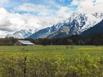 Pris cela sur le côté d'une longue route menant au parc national de Diablo. - champ d'herbe verte près de la montagne couverte de neige sous les nuages blancs et le c