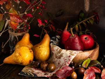 Still Life with Pears - assorted variety of vegetables and fruits.