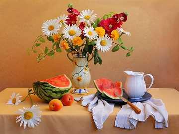 Fleurs dans un vase - m ...................