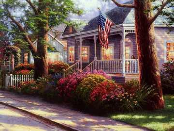 Gemaltes Haus. - Gemaltes amerikanisches Haus.