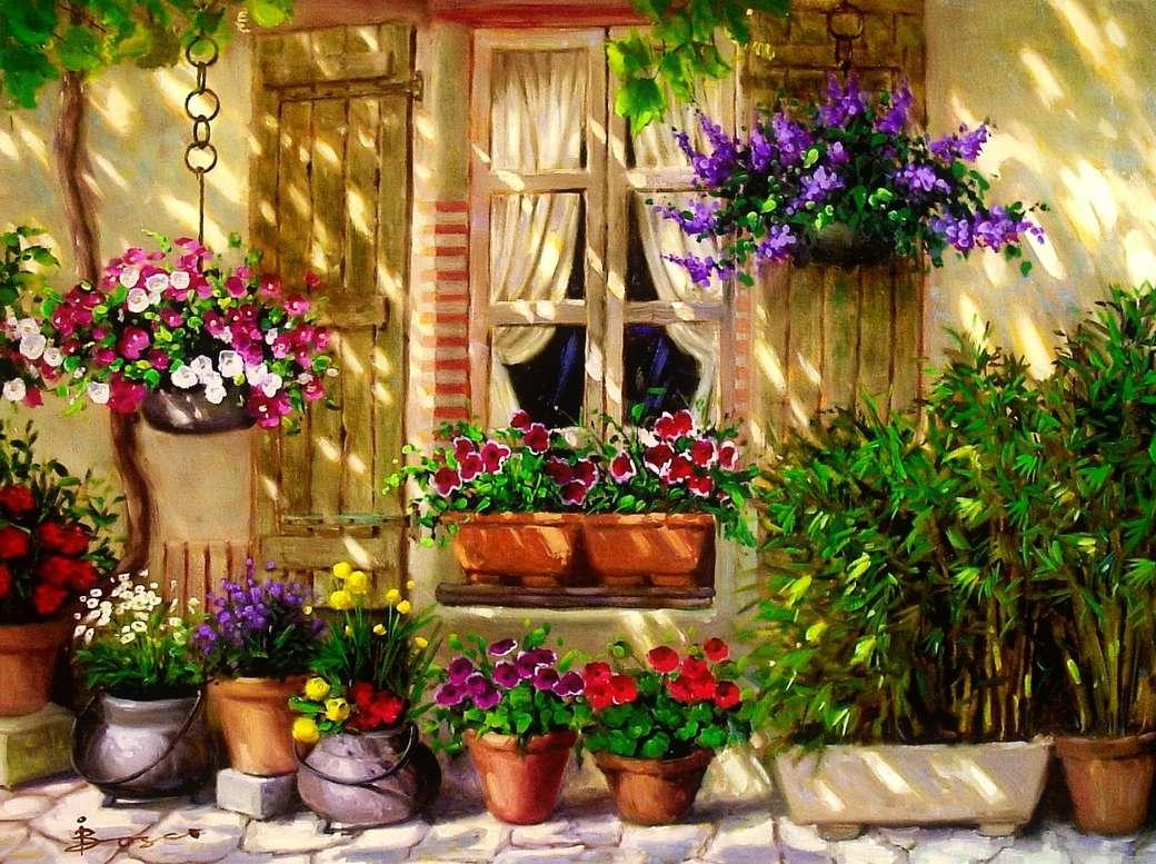 Pintura frente de casa con flores. - Pintura frente de casa con flores.