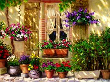 Painting house front with flowers - Painting house front with flowers