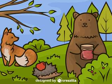 Autumn picture 2 - Autumn picture with a bear, a hedgehog and a fox.